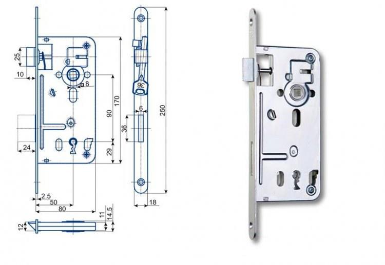 Zámek Hobes 537C 90/80 na obyč. klíč - Zadlabávací zámky na klíč rozteč 90