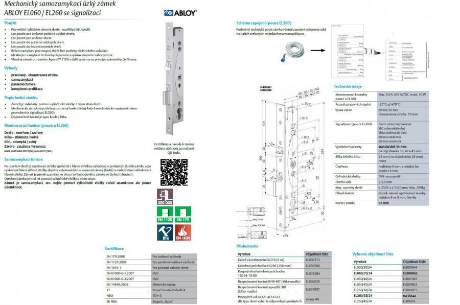 Mechanický samozamykací zámek Abloy EL060/30/24 - Samozamykací zámky Abloy typy 060,160