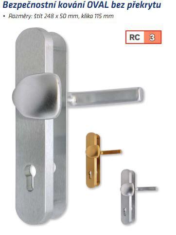 Bezpečnostní kování OVAL bez překrytu rozteč 72mm - Bezpečnostní kování Richter