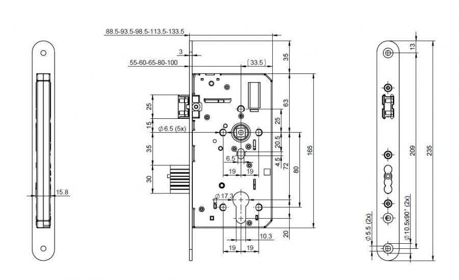 Panikový zámek N1100 Assa Abloy 55 - Zadlabávací zámky panikové klika/klika funkce D