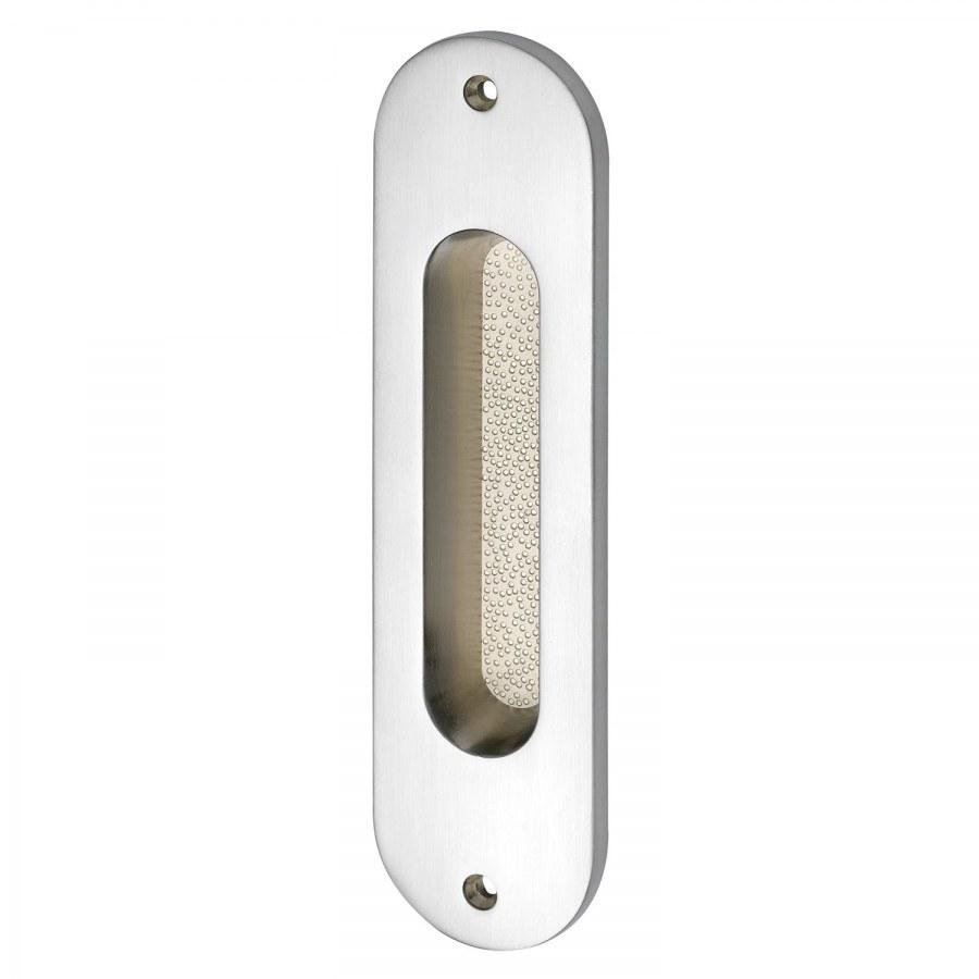 Mušle pro posuvné dveře ovál 38 x 152 mm, bez otvoru, mosaz chrom mat