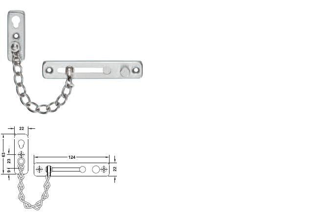 Häfele - Pojistný dveřní řetízek ocel povrch mat - Dveřní příslušenství