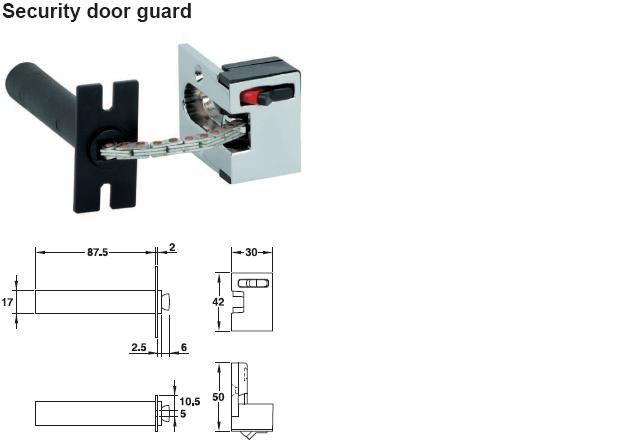 Bezpečnostní pojistka na dveře nerez+zinek povrch mat - Dveřní příslušenství