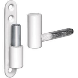 Univerzální závěs pro okna a dveře, trn ø 15mm, ocel poplastovaná bílá - Univerzální závěs na okna a dveře typu A