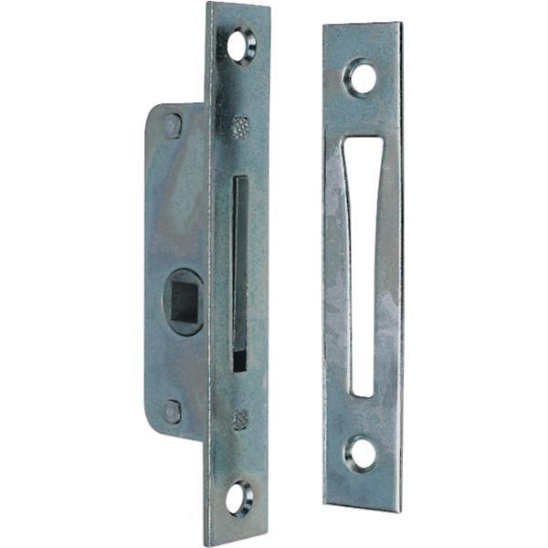Dveřní zástrč s protikusem hranatá, DM 15 mm, hranatá, ocel pozink - Zadlabací uzávěr s protikusem hranatý