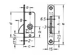 Zadlabací jazýček s protiplechem, DM 15 mm, zaoblený, ocel pozinkovaná OKNA - Okenní sortiment, panty - Okenní uzávěry - Zadlabací uzávěr s protikusem zaoblený