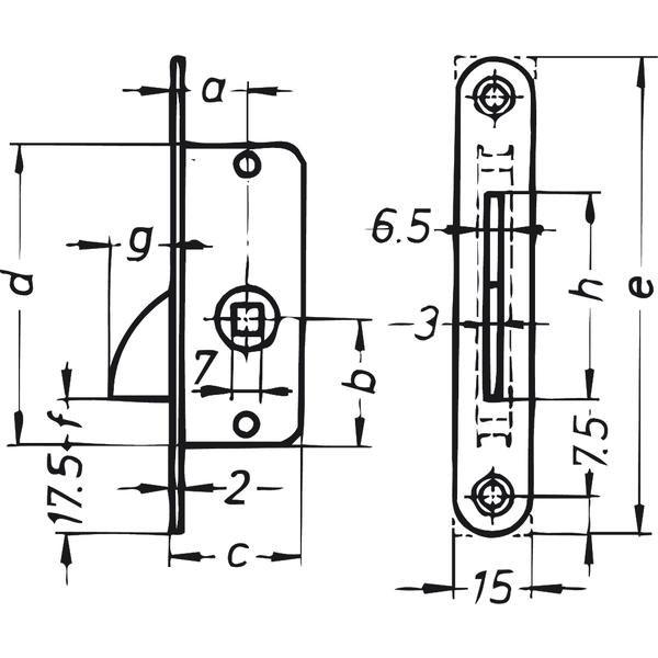 Zadlabací jazýček s protiplechem, DM 15 mm, zaoblený, ocel pozinkovaná - Zadlabací uzávěr s protikusem zaoblený