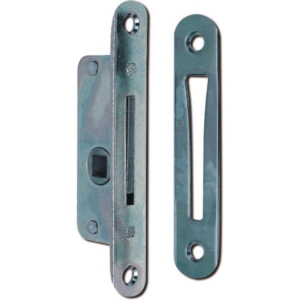 Zadlabací jazýček s protiplechem, DM 10 mm, zaoblený, ocel pozinkovaná - Zadlabací uzávěr s protikusem zaoblený