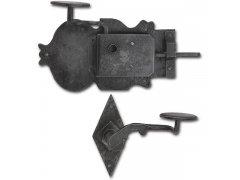 Rustikální sada zámku Grein, pravý DM 100, kované železo černěné, voskované DVEŘE - Dveřní kování, dveřní příslušenství - Zámky povrchové rustikální
