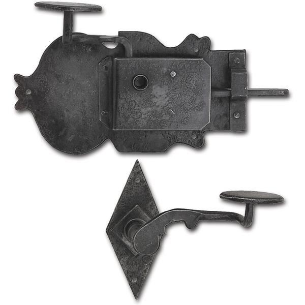 Rustikální sada zámku Grein, pravý DM 100, kované železo černěné, voskované - Zámky povrchové rustikální