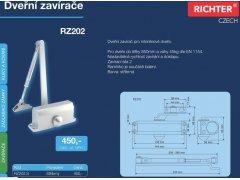 Dveřní zavírač Richter RZ202 - stříbrný DVEŘE - Dveřní zavírače - Zavírače s ramínkem - Zavírače s ramínkem Richter
