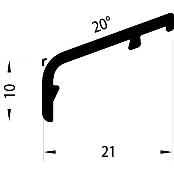 Křídlová okapnice FP 8849, 6000 mm, hliník tm.bronz elox. (G216),cena za 1m