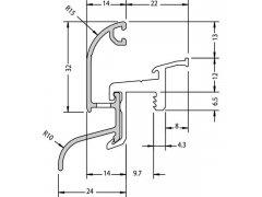 Rámová okapnice Main 22/24 F-TI, 6000 mm, hliník stříbrný elox.,cena za 1m Stavebniny - Střešní krytiny - Profily proti větru a dešti - Okapnice