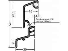 Okapnice SPREE-D 24 OF, přířez na míru, hliník RAL 9016,cena za 1m Stavebniny - Střešní krytiny - Profily proti větru a dešti - Okapnice