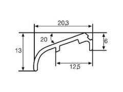 Křídlová okapnice FP 6257, 6000 mm, hliník sv.bronz elox.(G214),cena za 1 m STAVEBNINY - Střešní krytiny - Profily proti větru a dešti - Okapnice