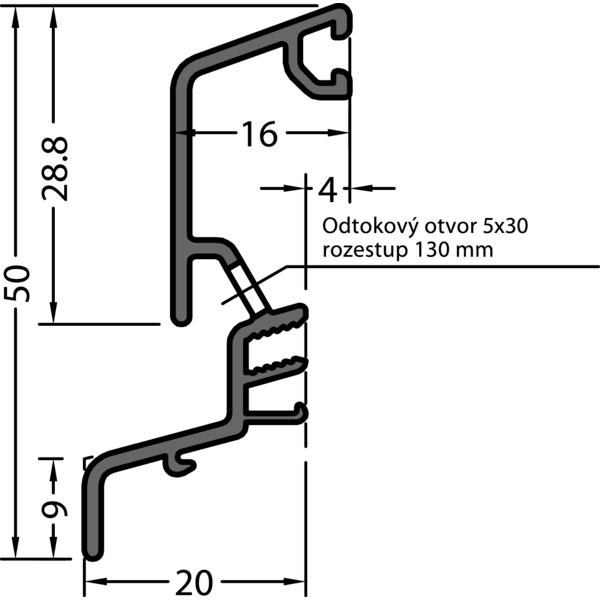 Okapnice SPREE-D 24 OF, přířez na míru, hliník stříbrný elox.,cena za 1m - Profily proti větru a dešti - Okapnice