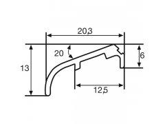 Křídlová okapnice FP 6257, hliník stříbrný elox ,cena za 1m STAVEBNINY - Střešní krytiny - Profily proti větru a dešti - Okapnice