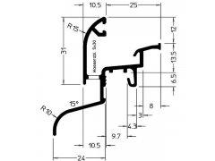 Okapnice Drau 25/24F, hliník stříbrně eloxovaný,cena za 1m STAVEBNINY - Střešní krytiny - Profily proti větru a dešti - Okapnice