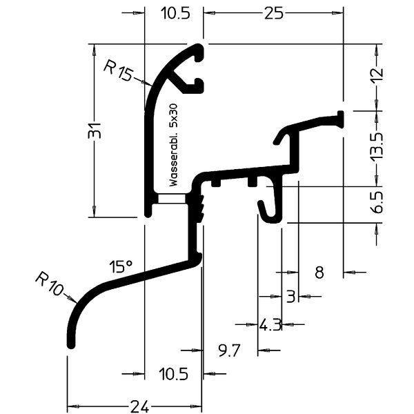 Okapnice Drau 25/24F, hliník stříbrně eloxovaný,cena za 1m - Profily proti větru a dešti - Okapnice-Nelze poslat Zásilkovnou