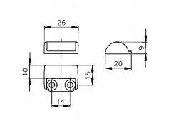 Uzamykací úhelník 534 F, ocel poniklovaná ŽELEZÁŘSTVÍ - Zámky - Nábytkové zámky - Výměnné nábytkové cylindr. systémy. Stavítkové nábytk. zámky - Hekna - Nábytkový zámek na sklo