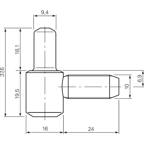 Závěs k zavrtání s válcovou hlavou- spodní díl ø 16 mm, ocel pozinkovaná