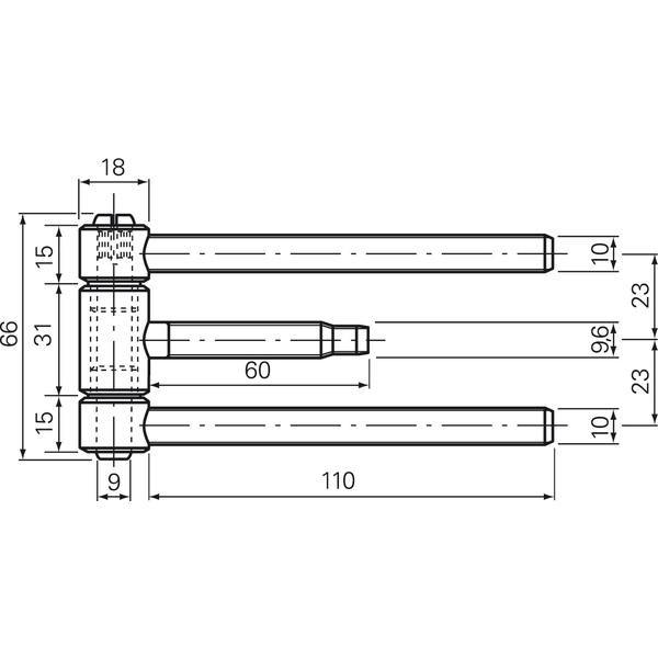 Nasouv.závěs 3-díl.18 mm, pro protipož.dv.,s poj.proti vyvěš. ocel poniklovaná