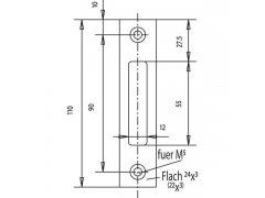 Protiplech plochý, 110 x 24 x 3 mm, nerez ŽELEZÁŘSTVÍ - Zámky - Zadlabávací zámky - Zadlabávací zámky do profilových dveří - WSS - WSS protiplechy
