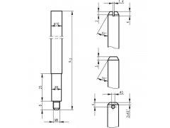 Tyčová závora BKS 9006, 1187 mm, spodní, pozink. ocel ŽELEZÁŘSTVÍ - Zámky - Zadlabávací zámky - Zadlabávací zámky do profilových dveří - BKS