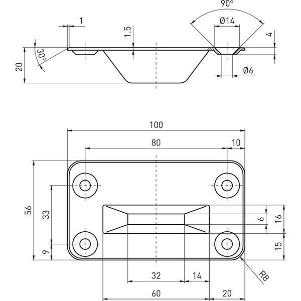 Podlahový protikus pro rozvorovou tyč 9009 0001, nerez - BKS