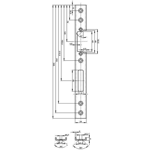 Protiplech U-tvar, západ. a závora, pravý, 245 x 24 x 6 mm, nerez.ocel - Wilka protiplechy