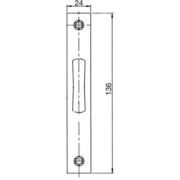 Protiplech plochý pro střelkový zámek, 136 x 24 x 3 mm, nerez. ocel - Wilka protiplechy