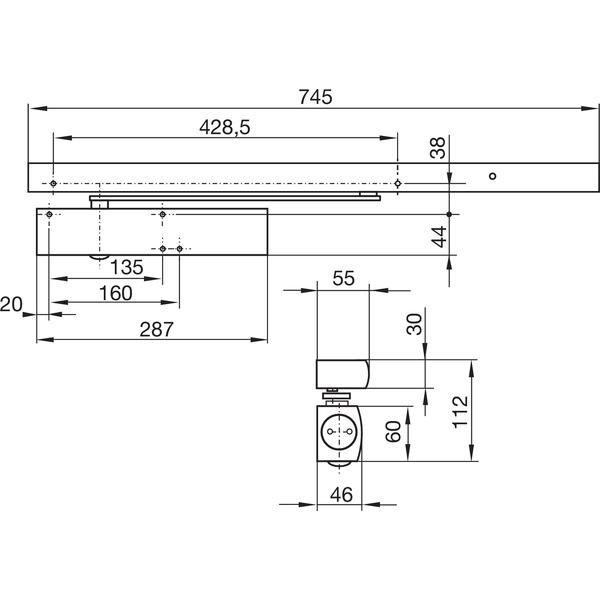 Dveřní zavírač GEZE TS 5000 R, EN 2-6, pro 1-křídlé dveře s kluznou lištou - Zavírače Geze