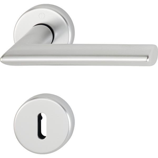 Dveřní kování STOCKHOLM, interiérové, klika-klika, F1 stříbrný elox, rozeta OB