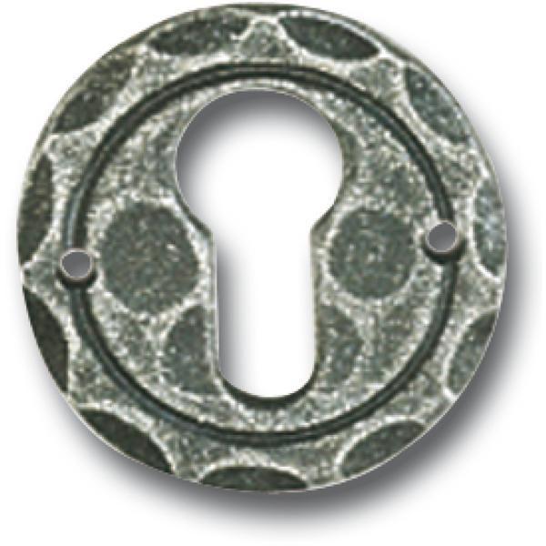 Klíčová rozeta PZ, ø 50 mm, osazení 18 mm, pozink černý lakovaný - Dveřní rozety