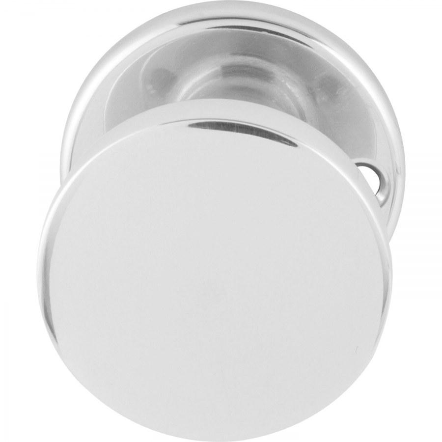 Dveřní koule WG rovný tvar s otvory, ø 45 mm, pevně s rozetou, leštěný hliník