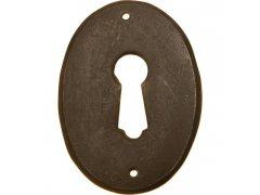 Štítek šířka 37 mm, výška 53 mm, patin. mosaz ŽELEZÁŘSTVÍ - Nábytkové kování,nábytkové panty - Nábytkové rozety na klíč