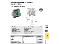 Nábytkový zámek se závorou Häfele 232.26.610 ŽELEZÁŘSTVÍ - Zámky - Nábytkové zámky - Výměnné nábytkové cylindr. systémy. Stavítkové nábytk. zámky