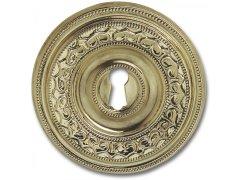 Štítek, styl. souprava ø 73 mm, leštěná mosaz ŽELEZÁŘSTVÍ - Nábytkové kování,nábytkové panty - Nábytkové rozety na klíč