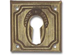 Štítek malý, styl. soupr., šířka 28 mm, výška 28 mm, patin. mosaz ŽELEZÁŘSTVÍ - Nábytkové kování,nábytkové panty - Nábytkové rozety na klíč