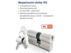 Bezpečnostní vložka Star 70S 3klíče Dveře - Cylindrické vložky - Cylindrické vložky oboustranné - Bezpečnostní třída 3