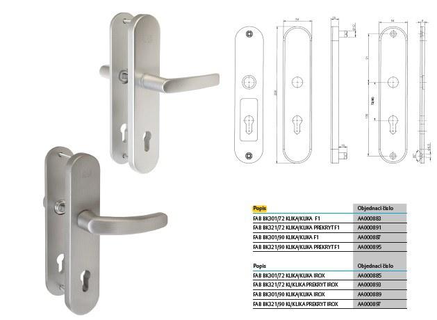 Bezpečnostní kování FAB BK301  klika/klika
