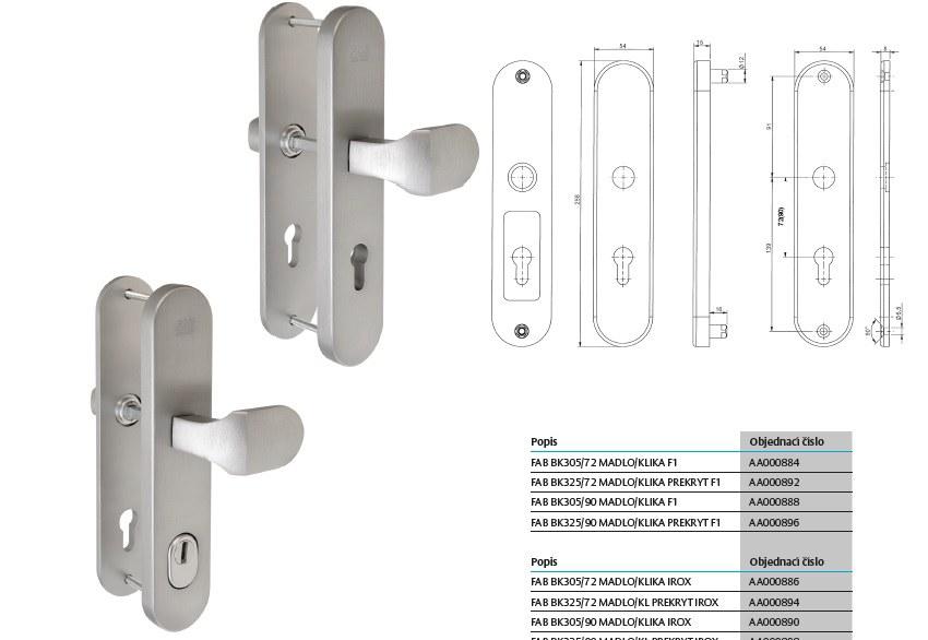Bezpečnostní kování FAB BK305 - Klika/Madlo
