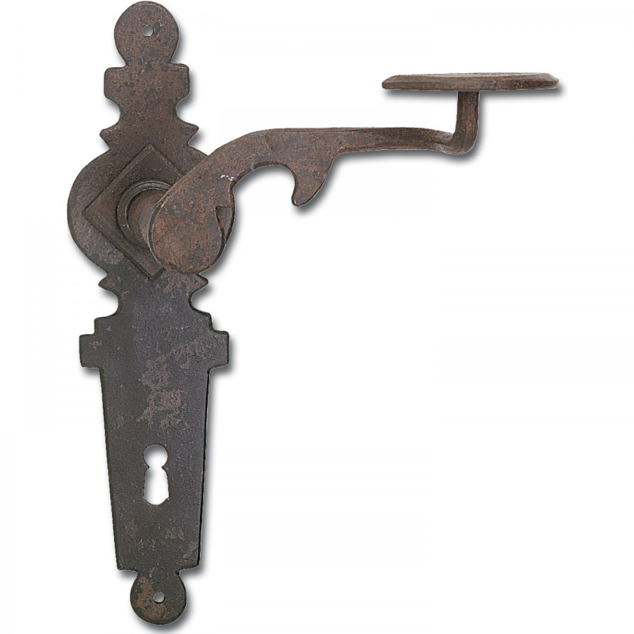 Kování klika-klika Steyrtal se štítkem na klíč 90 mm, ocel černěná voskovaná - Dveřní kování tepané železo