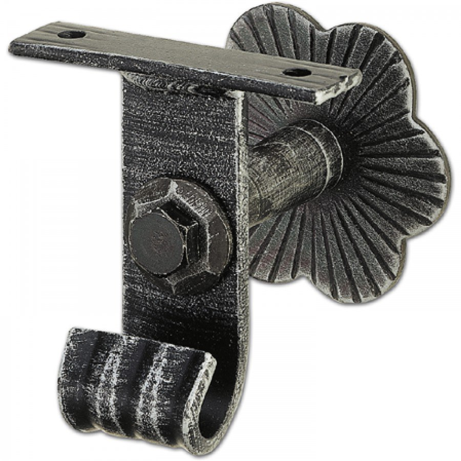 Podpěra madla zábradlí zahnutá, rozeta ø 80mm, odstup od stěny 60 mm - Dveřní kování tepané železo