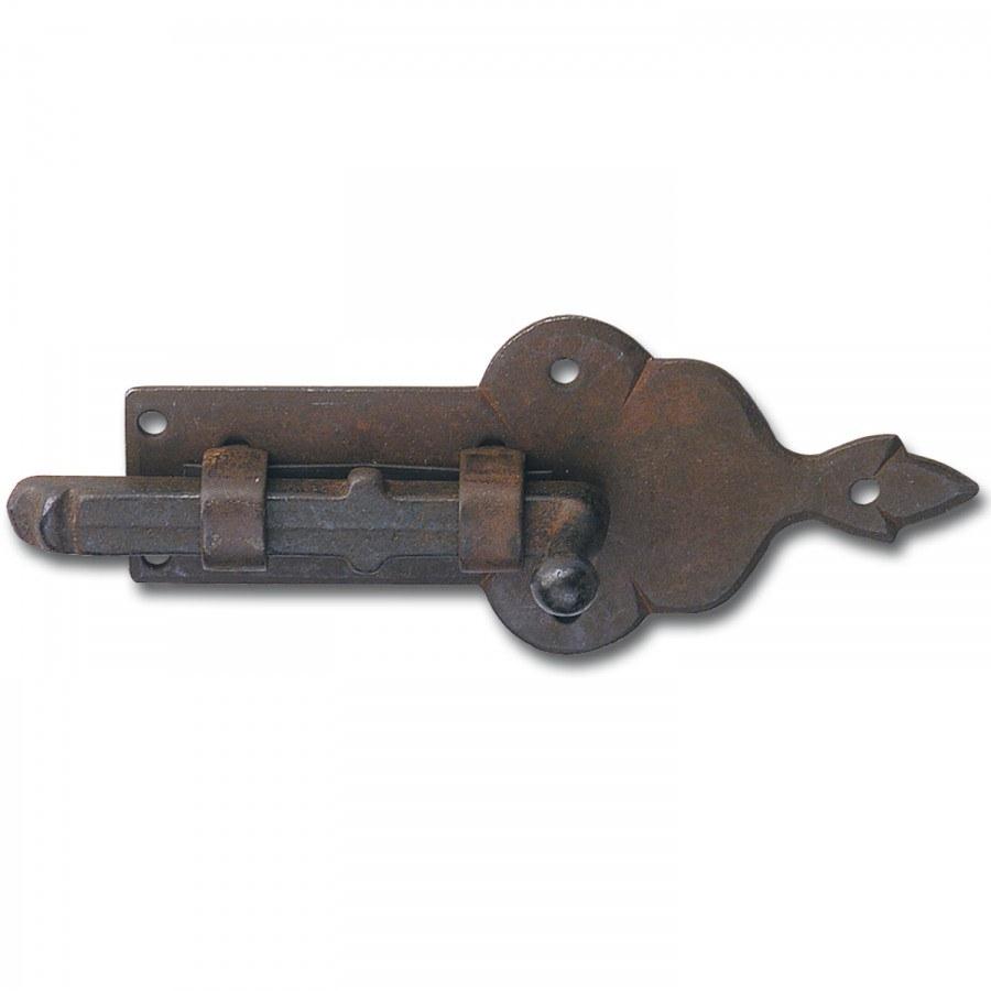 Zástrčka rovná, velikost destičky 95 x 41 mm, mosaz patinovaná - Dveřní kování tepané železo