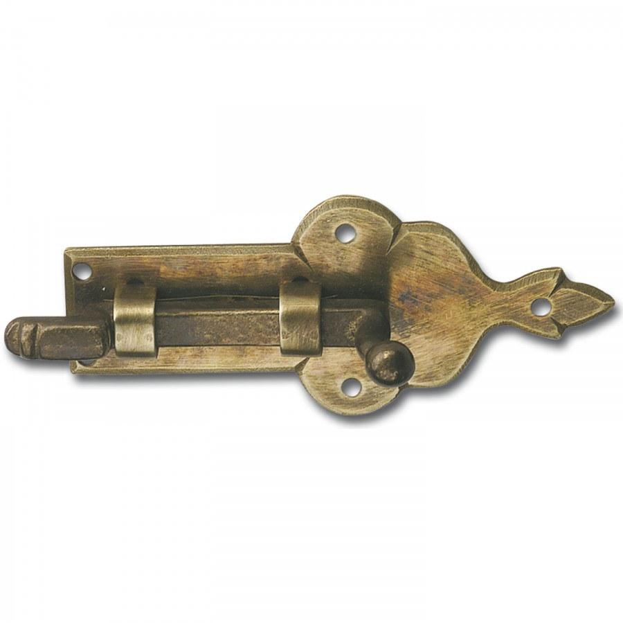 Zástrčka zalomená, velikost destičky 95 x 41 mm, mosaz patinovaná - Dveřní kování tepané železo