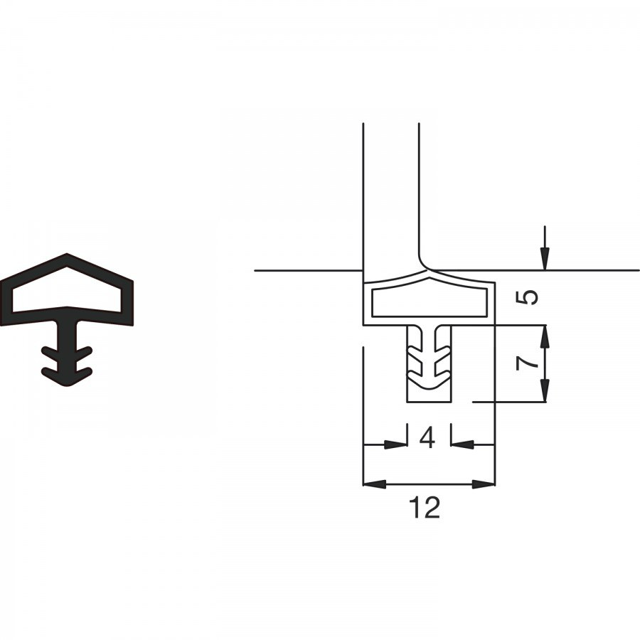 Těsnění do vnitřních dveří M 680, role16,5 m, plast hnědý - Dveřní těsnění, prahy, těs. kartáče