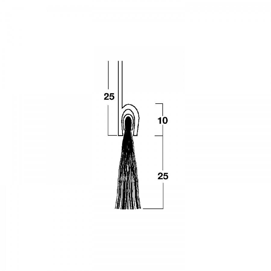Dveřní těsnící kartáček s př. lištou, 2000 mm, štětiny černé, tm. hnědý elox. - Dveřní těsnění, prahy, těs. kartáče