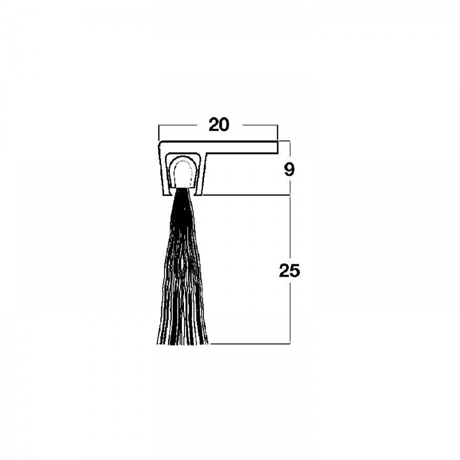 Dveřní těsnící kartáček s úhl. profil. lištou, 2000mm, štět. přír., hliník přír. - Dveřní těsnění, prahy, těs. kartáče