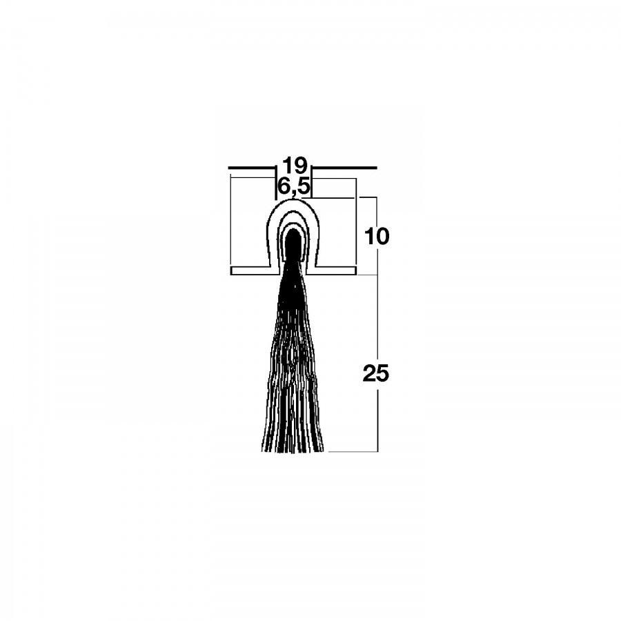 Dveřní těsnící kartáček s profil. U-lištou, 2000 mm, štětiny přír., hliník přír.